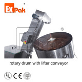 Automatic sorter(for non-stack capsules): rotary drum with lifter conveyor